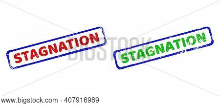 Vector Stagnation Framed Imprints With Unclean Texture. Rough Bicolor Rectangle Seal Stamps. Red, Bl