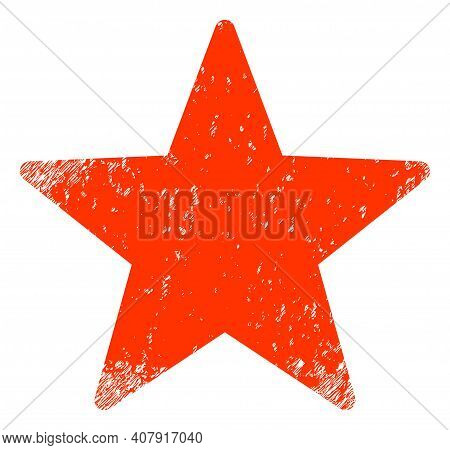 Star Icon With Grunge Effect. Isolated Vector Star Icon Image With Unclean Rubber Texture On A White