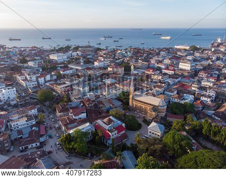 Aerial View On Old Slave Market In Anglican Cathedral At Sunset Time In Stone Town, Zanzibar, Tanzan