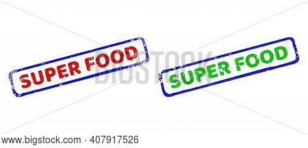 Vector Super Food Framed Imprints With Grunge Surface. Rough Bicolor Rectangle Seal Stamps. Red, Blu