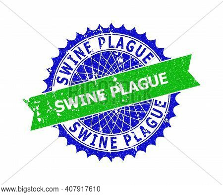 Vector Swine Plague Bicolor Seal With Unclean Style. Blue And Green Colors. Flat Seal Imprint With S