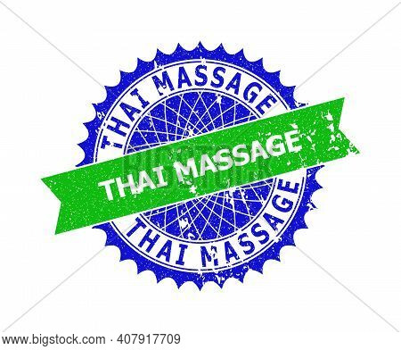 Vector Thai Massage Bicolor Seal With Rough Surface. Blue And Green Colors. Flat Seal With Thai Mass