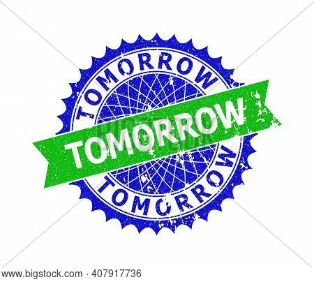 Vector Tomorrow Bicolor Stamp Seal With Grunged Style. Blue And Green Colors. Flat Seal With Tomorro
