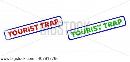 Vector Tourist Trap Framed Imprints With Grunge Surface. Rough Bicolor Rectangle Stamps. Red, Blue,