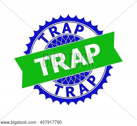 Vector Trap Bicolor Template For Imprints With Clean Surface. Flat Clean Seal Template With Trap Tit