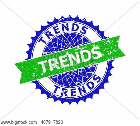 Vector Trends Bicolor Stamp Seal With Unclean Texture. Blue And Green Colors. Flat Seal Imprint With