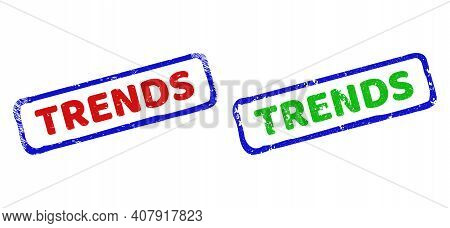 Vector Trends Framed Watermarks With Unclean Style. Rough Bicolor Rectangle Seal Stamps. Red, Blue,