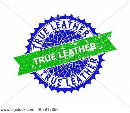 Vector True Leather Bicolor Stamp Seal With Rough Style. Blue And Green Colors. Flat Seal Stamp With