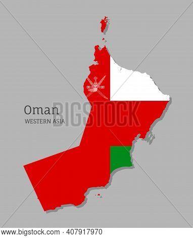Map Of Oman With National Flag. Highly Detailed Editable Map Of Oman, Western Asia Country Territory