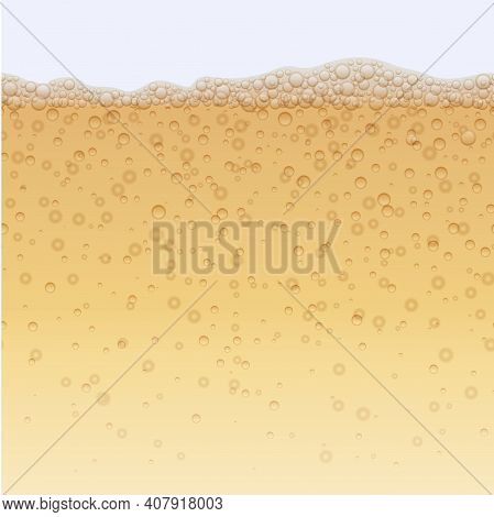 Champagne Drink With Bubbles Background. Fizzy Carbonated Soda Water Drink, Elegant Sparkling Repeat
