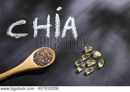 Chia Seeds With Omega 3 Capsules - Salvia Hispanica