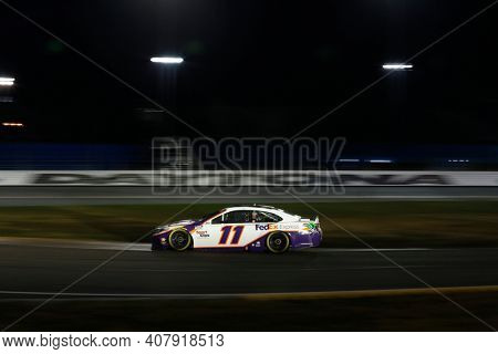 February 09, 2021 - Daytona Beach, Florida, USA: Denny Hamlin (11) races for the Busch Clash at Daytona at Daytona Road Course in Daytona Beach, Florida.
