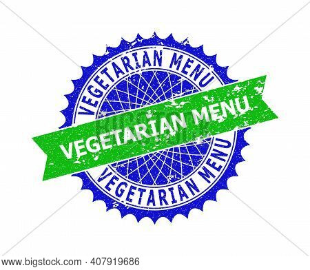 Vector Vegetarian Menu Bicolor Seal With Grunged Style. Blue And Green Colors. Flat Seal With Vegeta