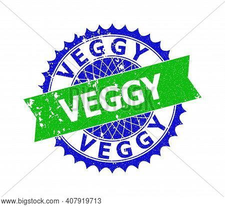 Vector Veggy Bicolor Stamp Seal With Unclean Texture. Blue And Green Colors. Flat Seal Stamp With Ve