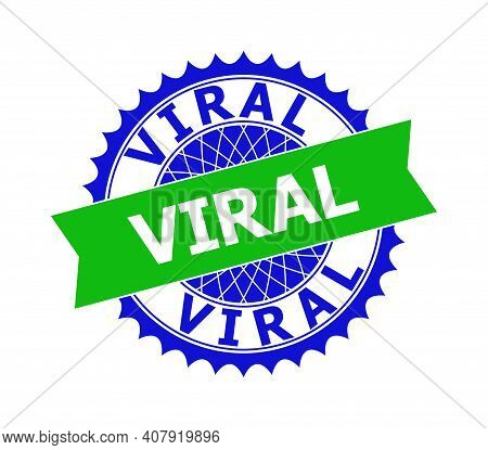 Vector Viral Bicolor Template For Imprints With Clean Surface. Flat Clean Seal Stamp With Viral Text