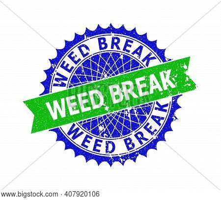 Vector Weed Break Bicolor Seal With Grunge Surface. Blue And Green Colors. Flat Seal With Weed Break