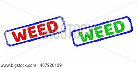 Vector Weed Framed Watermarks With Unclean Texture. Rough Bicolor Rectangle Seal Stamps. Red, Blue,