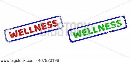 Vector Wellness Framed Imprints With Scratched Texture. Rough Bicolor Rectangle Stamps. Red, Blue, G