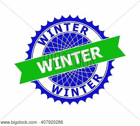 Vector Winter Bicolor Template For Watermarks With Clean Surface. Flat Clean Watermark With Winter C