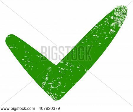 Yes Icon With Grunge Effect. Isolated Vector Yes Icon Image With Corroded Rubber Texture On A White