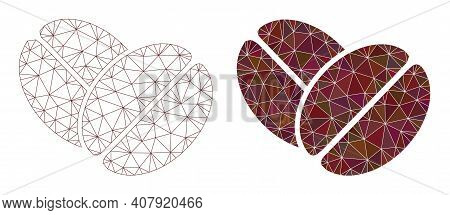 Mesh Cacao Beans Polygonal Icon Illustrations, Filled And Carcass Versions. Vector Network Cacao Bea