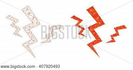 Mesh Crack Strikes Polygonal Icon Illustrations, Filled And Carcass Versions. Vector Net Mesh Crack