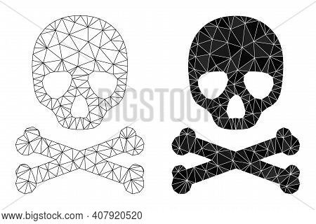 Mesh Death Skull Polygonal Icon Illustrations, Filled And Carcass Versions. Vector Mesh Death Skull
