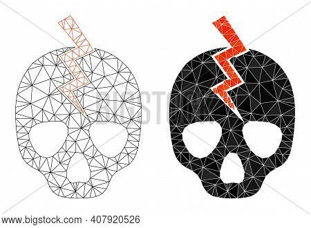 Mesh Death Strike Polygonal Icon Illustrations, Filled And Carcass Versions. Vector Mesh Death Strik