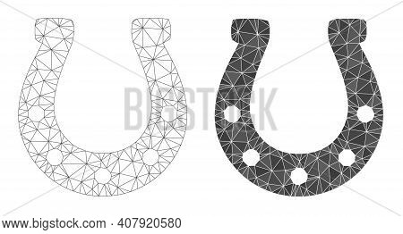 Mesh Horseshoe Polygonal Icon Illustrations, Filled And Carcass Versions. Vector Wire Frame Horsesho