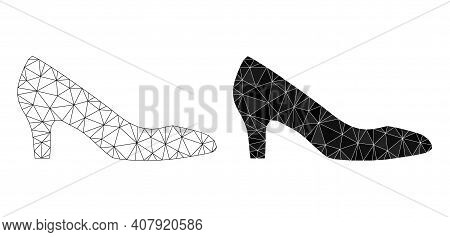 Mesh Lady Shoe Polygonal 2d Illustrations, Filled And Carcass Versions. Vector Net Mesh Lady Shoe Ic
