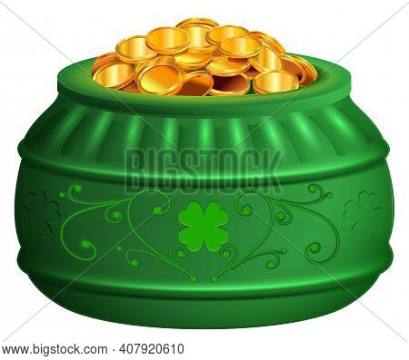 Green Pot Of Gold Coins. Saint Patricks Day Treasure Symbol Clover Luck. Vector Illustration Isolate