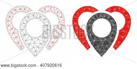 Mesh Map Markers Polygonal 2d Illustrations, Filled And Carcass Versions. Vector Net Map Markers Ico