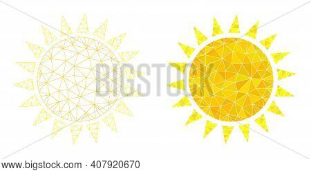 Mesh Sun Polygonal Icon Illustrations, Filled And Carcass Versions. Vector Net Mesh Sun Icons. Linea