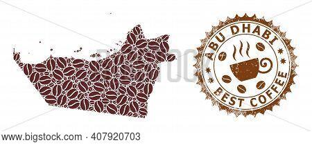 Coffee Mosaic Map Of Abu Dhabi Emirate And Distress Stamp Seal. Vector Map Of Abu Dhabi Emirate Coll