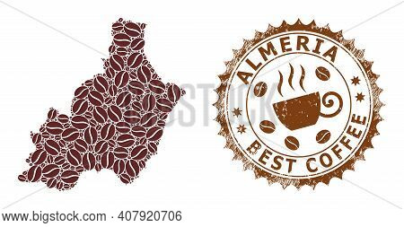 Coffee Mosaic Map Of Almeria Province And Distress Stamp Seal. Vector Map Of Almeria Province Collag