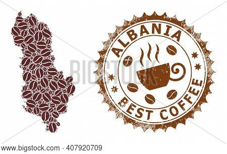 Coffee Mosaic Map Of Albania And Grunge Stamp. Vector Map Of Albania Collage Is Composed Of Chocolat