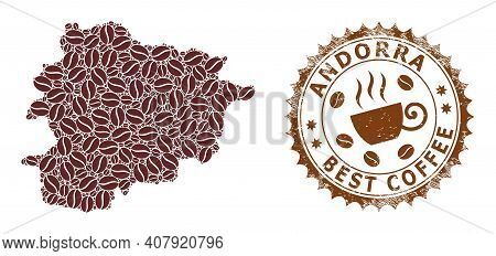 Coffee Mosaic Map Of Andorra And Scratched Stamp. Vector Map Of Andorra Collage Is Created Of Coffee