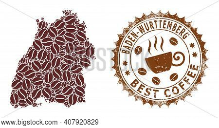 Coffee Mosaic Map Of Baden-wurttemberg Land And Rubber Stamp Seal. Vector Map Of Baden-wurttemberg L