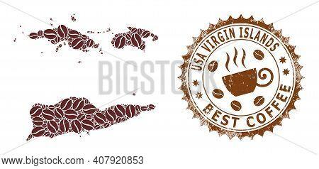 Coffee Mosaic Map Of American Virgin Islands And Grunge Stamp Seal. Vector Map Of American Virgin Is