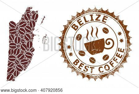Coffee Mosaic Map Of Belize And Unclean Stamp. Vector Map Of Belize Collage Is Created Of Coffee See
