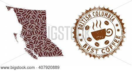 Coffee Mosaic Map Of British Columbia And Rubber Stamp Seal. Vector Map Of British Columbia Collage