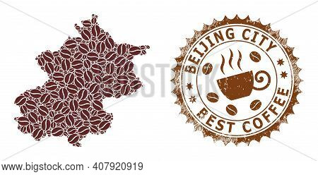 Coffee Mosaic Map Of Beijing City And Grunge Stamp Seal. Vector Map Of Beijing City Collage Is Forme