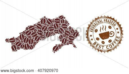 Coffee Mosaic Map Of Arunachal Pradesh State And Scratched Stamp Seal. Vector Map Of Arunachal Prade
