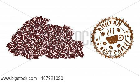Coffee Mosaic Map Of Bhutan And Distress Stamp Seal. Vector Map Of Bhutan Collage Is Composed With C