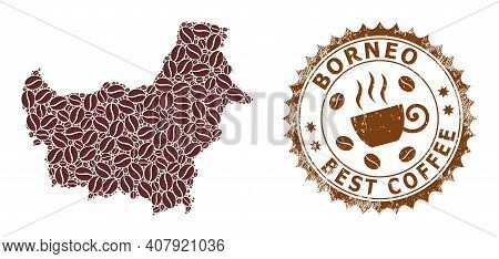 Coffee Mosaic Map Of Borneo And Corroded Mark. Vector Map Of Borneo Collage Is Designed Of Cocoa. Ro