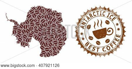 Coffee Mosaic Map Of Antarctica Continent And Corroded Badge. Vector Map Of Antarctica Continent Col