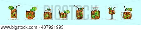 Set Of Sangria Drink Cartoon Icon Design Template With Various Models. Modern Vector Illustration Is