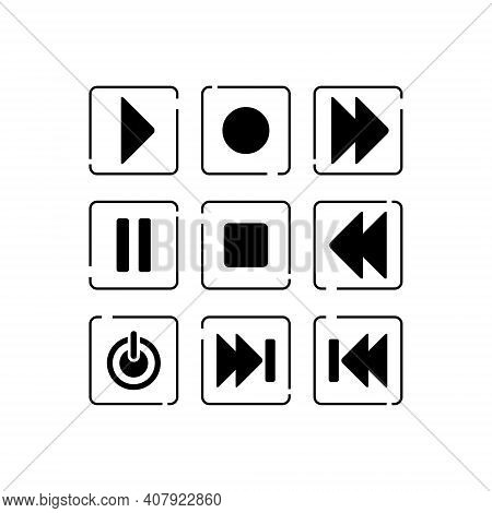 Set Of Vector Icon Play Buttons Black Isolated.play Button Icon On White Background. Play Button Ico
