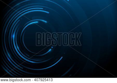 Abstract Circle Lines And Dots Connect With Futuristic Background. Data Cyber Internet Technology Co
