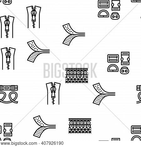 Drapery Shop Sale Vector Seamless Pattern Thin Line Illustration